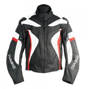 Мотокуртка текстильная Ivagio мужская, цвет черный белый красный