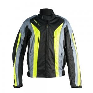 Мотокуртка текстильная Ivagio мужская, цвет черный серебристый лимонный
