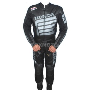 Honda Black кожаный мотокомбинезон