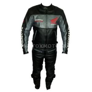 Honda Grey & Black кожаный мотокомбинезон