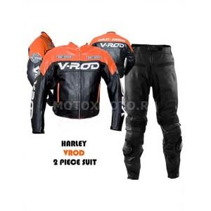 V ROD Orange Black кожаный мотокомбинезон