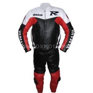 Yamaha R black red white кожаный мотокомбинезон